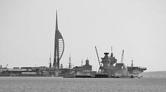 Spinnaker Tower and H.M.S. Queen Elizabeth II (MedievalRocker) Tags: spinnakertower aircraftcarrier portsmouth queenelizabethii