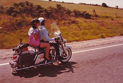 'Electra Gliding' as good as it gets on a Harley. (Trevor Lawrence Photos Northern Ireland) Tags: 1973 electra glide 1200 flh harley davidson whitewall tyres french girlfriend police motorcycle leather saddlebags mini skirt white