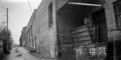 back alley, architecture, loading dock, West Asheville, North Carolina, (Eastman Kodak Co. Successor to) Blair Camera No. 7 Wend Hawk Eye, Kodak TriX 400, Ilford Ilfosol 3 developer, 1.17.19 (steve aimone) Tags: backalley loadingdock architecture brick westasheville northcarolina blaircameraco no7wendhawkeye eastmankodak boxcamera kodaktrix400 ilfordilfosol3developer blackandwhite monochrome monochromatic 122film 120filmwithadapter 120 120film film mediumformat