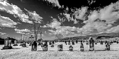 Green Hill Cemetery (Bob G. Bell) Tags: greenhill oldcemetery graveyard tombstone clouds sky bobbell fujifilm xe2 monochrome bw blackandwhite