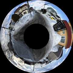 Roadish Panorama, variant (sjrankin) Tags: 21february2019 edited neighborhood snow ice road slush clouds weather sky houses lines wires kitahiroshima hokkaido japan panorama 360° 360°panorama