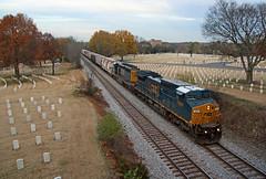CSX 7691, Q647, Nashville National Cemetery, Madison, TN, 11-28-18 (mikeball1374) Tags: csx nashville tennessee nashvilleterminalsub c408w sd402 q647 train transportation trainphotography trains railfanning railroad photography ge freighttrain cemetery widecab