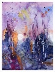 🔆 Spring sunrise 🔆 Original watercolor painting by me 👩🎨 (wittmannsvetlana) Tags: artwork purple sunrise forest spring landscape painting watercolor watercolour art