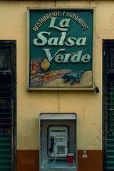 2019 Call for reservation (jeho75) Tags: sony ilce 7m2 zeiss mexico mesoamerica detail street scene werbeschild promotion old telephone san cristóbal de las casas restaurant la salsa verde