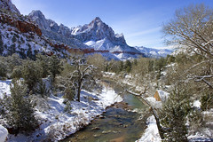 Still can't pass up the Watchman view in Zion Utah (swissuki) Tags: zion national park landscape river sky snow mountain watchman usa ut utah