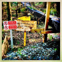 No fun in the forest (Julie (thanks for 9 million views)) Tags: hipstamaticapp signsunday sliderssunday squareformat iphonese tinternwoods wexford ireland irish chute trees funny hww 100xthe2019edition 100x2019 image52100 taytopark