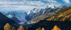 Piz Bernina and Piz Morteratsch (dieLeuchtturms) Tags: morteratschgletscher herbst europa 21x9 graubünden gletscher panorama berninagruppe alpen schweiz 235x100 7x3 alps berninarange cantonofgrisons europe morteratschglacier swisse switzerland vadretdamorteratsch autumn fall glacier pontresina ch