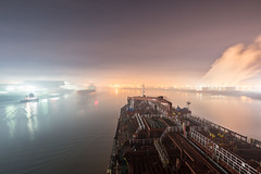 Hazy Meeting (181pics) Tags: fog weather clouds marinepilot tugboat sonyalpha sony houstonshipchannel houston naitical maritime nightphotography night lightpainting availablelight longexposure ship