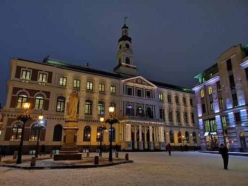Town Hall of Latvian capital city of Riga. January 15, 2019