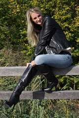 Lorena 17 (The Booted Cat) Tags: sexy long blonde hair girl model woman tight blue jeans leather jacket boots heels highheels overkneeboots