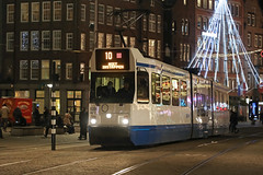 Dam - Amsterdam (Netherlands) (Meteorry) Tags: europe nederland netherlands holland paysbas noordholland amsterdam centrum centre center dam damrak evening night soir nuit square bombardier holec bn trapkar hangbuik gvb10 tram streetcar tramway public transport publique transportencommun transit gvb gvb0828 january 2019 meteorry