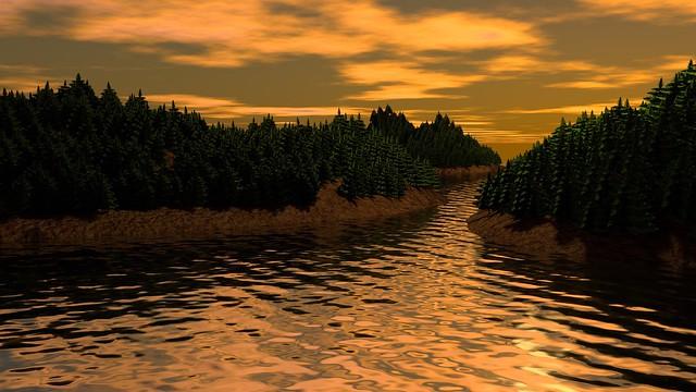 Обои пейзаж, 3д, арт, река, деревья картинки на рабочий стол, фото скачать бесплатно