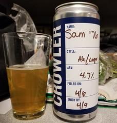 Sam '76 (Pak T) Tags: light lager samadams samueladams crowler can glass boston massachusetts beer alcohol beerporn beverage drink samsunggalaxys8 tmobile untappd