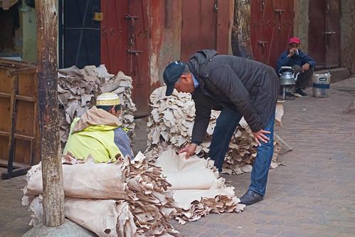 buying leather - Marrakech, Morocco - Nov 2018
