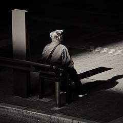 On the bench (Bill Morgan) Tags: olympus penf 40150 bw jpeg luminar3 mitaka tokyo street