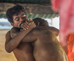 Oedipus Complex: we are not only pure, gentle, good and moral (ybiberman) Tags: varanasi india utterpradesh men people streetphotography candid wrestling sport club match sand sandbox teeth effort pehlwani kushti