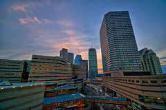 Twilight in Boston Uptown (Brooks Payne) Tags: brooksbos boston brooks backbay architecture city copley colour color colorful copleysquare evening geotagged hdr landscape lights cityscape nikon d5600 newengland night sky skyline tower travel urban winter prudential copleyplace