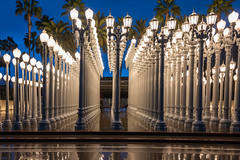 Urban Lights at LACMA (SCSQ4) Tags: california donutstreetmeet favorite favoritepicture lacma lights losangeles losangelescountymuseumofart morning outdoorart outdoors rain rainyday twilight urbanlights