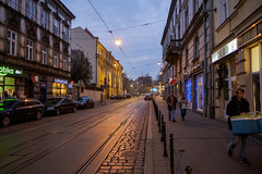 Late in the afternoon (RIch-ART In PIXELS) Tags: kraków lesserpoland malopolski poland staremiasto street road bluehour krakòw lamp light house fujifilmxt20 xt20 building polska rails railwaytrack railroad people sky