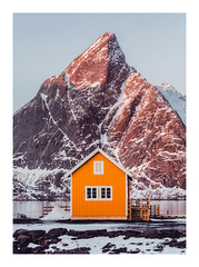 The Yellow Hut (Vemsteroo) Tags: norway norwegian lofoten lofotenislands yellowhut hut colourful mountains sakrisøy landscape fishingvillage instagram perfection sunrise morning winter snow cold ice light vsco canon 5d mkiv 2470mm travel exploration outdoors mountain peak