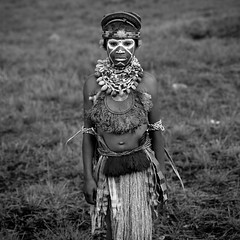 Highlander Kid In Mount Hagen During Sing Sing Ceremony, Western Highlands, Papua New Guinea (Eric Lafforgue) Tags: a0009325 artscultureandentertainment blackandwhite child day decoration headdress highlands indigenousculture jewellery lookingatcamera makeup onegirlonly oneperson outdoors papuanewguinea square tourism traditionalclothing tribal tribe singsing ceremony festival mounthagen