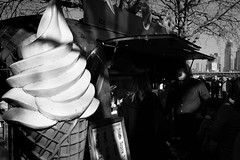 Cone Alone (Sean Batten) Tags: london england uk europe southbank blackandwhite bw streetphotography street icecream cone city urban fuji x100f fujifilm light shadow