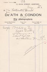 ASH2-084 De'Ath & Condon receipt 1929 (audinary_music) Tags: ashford kent