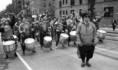 Fogo Azul at the Sunnyside/Woodside St. Pat's For All Parade (neilsonabeel) Tags: nikonn90s nikon nikkor blackandwhite film analogue parade queens newyorkcity fogoazul