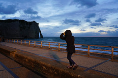 Etretat blue hour (jmarnaud) Tags: france 2018 autumn family normandy etretat blue hour sunset beach cliff sea village building cloud colors light people girl