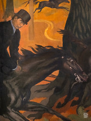 La Legende de Saint Hubert : La Chasse infernale (detail) (sylvain.collet) Tags: france peinture art nature chasse vitesse chevaux bois arbres course tronc cor cheval lesnabis galop traque cavalier foret