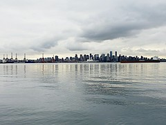 The City on Christmas Day (walneylad) Tags: vancouver britishcolumbia canada downtown cbd skyline cityscape portofvancouver port inlet water pacificocean burrardinlet sea ocean waves clouds grey christmasday december25 2018 winter december sky buildings view scenery cranes ships boats canadaplace reflections light dark gloomy threateningsky