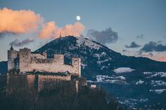 Salzburg Fortress (freyavev) Tags: salzburg salzburgerland salzkammergut mountains mikasniftyfifty austria österreich festung fortress moon moonlight sunset vsco nature canon canon700d