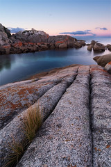 Binalong Lines (Christopher Smith Creative) Tags: longexposure tranquil calm circularpolarizer rocks blue lichen tasmania reversesunset bayoffires bluewater red