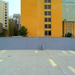 He put up a wall, and nobody came... (Robert Saucier) Tags: sfo sanfrancisco building architecture orange pavement clôture fence mur wall fenêtre window arbres trees sdc10170 samsungdigitalcamera