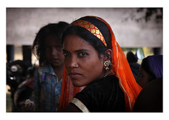 dark eyed girl (handheld-films) Tags: rural india portrait portraiture woman girl female closeup intense dark eyes vibrant warm indian people faces society culture rajasthan direct gaze travel women jewellery