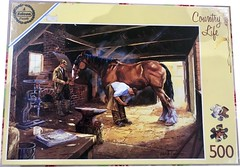 """F ? 500 COUNTRY LIFE' ART 3691 (farrier) 1996 leaflet (Andrew Reynolds transport view) Tags: jigsaw """"jigsaw puzzle"""" picture pieces large difficult falcon f 500 country life art 3691 farrier {ar} 1996 leaflet"""