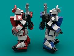 Destrier & Rouge (The Hydromancer) Tags: mech suit zero frame mobile mfz scifi micro space katana sword seed gundam lego red blue astray