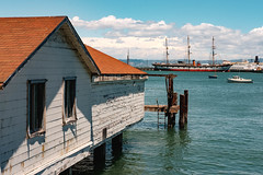 Room with a View (davetherrienphoto) Tags: california ship sanfrancisco peeling water paint harbor triple boathouse worn mast dock