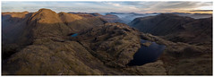 First Light On Great Gable, The Lake District (dandraw) Tags: thelakes thelakedistrict cumbria sunlight sunrise mountains greatgable greengable wasdalehead wasdale skiddaw styheadtarn sprinklingtarn outdoors adventure landscape panoramic pano panorama aerialphotography drone dji mavicair mavic