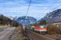 ÖBB 1144 041 + CAT 1016 014, Payerbach (Paha Bálint) Tags: öbb1144 semmering öbb semmeringbahn austria freighttrain train güterzug