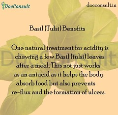 The main benefits of holy basil (tulsi) include: Fights acne. Protects against diabetes. Helps fight cancer. Balances hormones and lowers stress. Relieves fever. Helps improve respiratory disorders. Good source of vitamin K. Dental care and oral health. # (DocConsult) Tags: basil docconsult fever health ayurveda asthma copd bp acne vitamins tulsi cancer diabetes bloodsugar