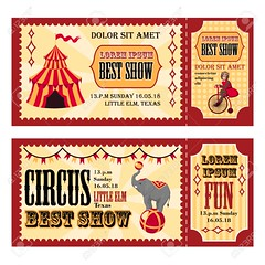Circus design tickets (han_vvvv97) Tags: illustration circus vector tent clown fun vintage carnival template graphic design amusement performance icon banner background collection card lion animal show bicycle park cartoon invitation elephant hat acrobat party isolated ticket set retro art trained stars birthday rabbit train flag performer colorful entertainment theater athlete arena ball celebration line color