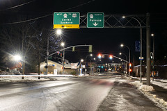 Route 270 (Curtis Gregory Perry) Tags: pullman washington route 270 highway colfax spokane palouse 27 195 night longexposure main street road winter ice cold snow gantry sign green overhead nikon d810