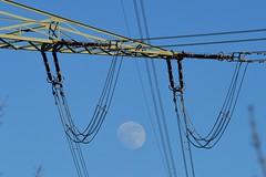 Munich - Lunar Energy (cnmark) Tags: germany deutschland bavaria bayern münchen munich unterföhring feringasee moon mond power energy energie mast pylon line leitung sky himmel blau blue ©allrightsreserved