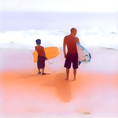 Father and Son ([ war horse ]) Tags: ocean father son prisma watercolor beach surf surfing wrhs