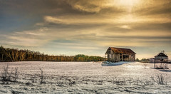 Morning Sun (James Korringa) Tags: barn clouds sun light field scenic winter landscape snow