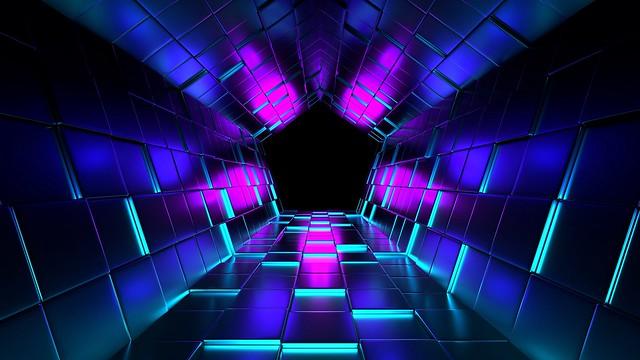 Обои кубы, рендеринг, туннель, пурпурный картинки на рабочий стол, фото скачать бесплатно