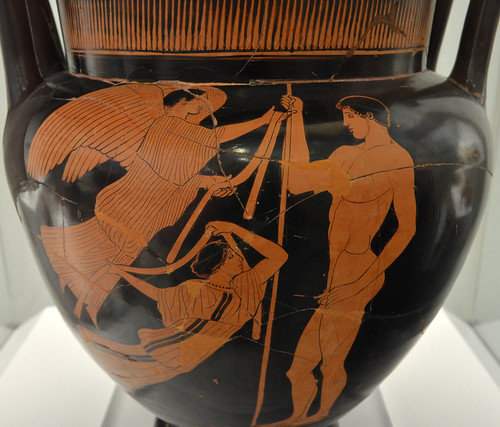 Athenian Red Figure column krater representing a javelin-thrower awarded with fillets by two Nikai (detail)