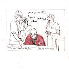 Choosing Artworks 1 (larosecarmine) Tags: maggies manchester christie hospital facing out lucy burscough caroline johnson documentary art urban sketch pen ink watercolour