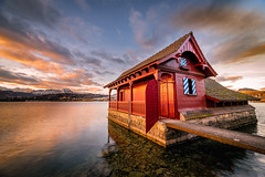 Boathouse Lucerne (adlin) Tags: boathouse lucerne luzern vierwaldstättersee switzerland lake water fresh morning light sunrise clouds nopeople calm early